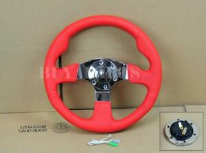 13 330mm Red Pvc Leather Mirror Chrome Staineless Steel Flat Steering Wheel