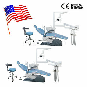 2x Dental Chair Unit With Dentist Stool Unit Computer Controlled Pu Hard Leather