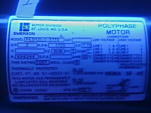 Emerson 3 Hp Polyphase Motor P63mzelc 3779 Rpm 1725 50 60 Hz Used