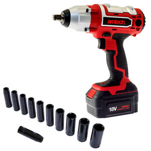 18v Li Ion Cordless Rechargeable Impact Wrench Fast Charger Case 15pc Sockets