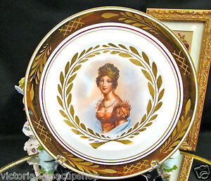 B G Bing Grondahl Denmark Stunning Lady Portrait Plate Gold Bands Painted