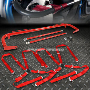 Red 49 Stainless Steel Chassis Harness Bar Red 4 Pt Strap Camlock Seat Belt