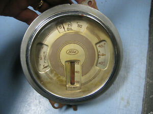 1937 Ford Deluxe Cluster Meter Gas Gauge Oil Amps Radiator Smooth Chrome