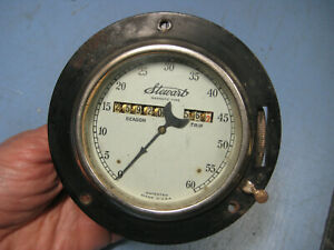Antique Stewart 0 60 Mph Magnetic Type Dash Mount Speedometer Needle Gauge