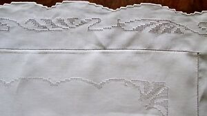 Antique Fine Linen Pillow Sham 31 Sq 3 Flange Mosaic Lace W Initial
