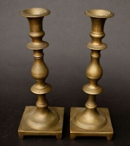 Pair Of Antique Early Solid Brass 10 Shabbat Candlesticks