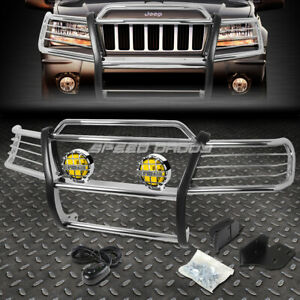 Chrome Brush Grill Guard round Amber Fog Light For 99 04 Jeep Grand Cherokee Wj