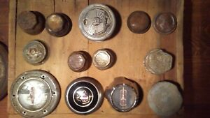 Lot Of 13 Antique Assorted Screw On Hubcaps And Center Caps Nash Chevy Ford E