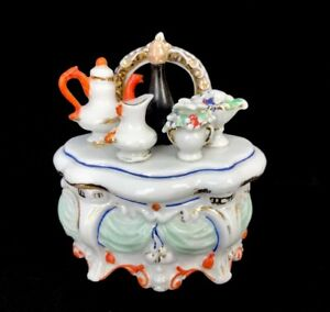 Antique 19th Century Fairing Porcelain Whimsy Trinket Box Chest Of Drawers 4 1 2