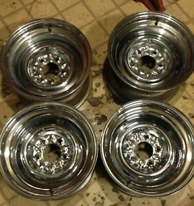 Set Of 4 Vintage Chevy Pickup Chrome Reverse Wheels 15 Inch