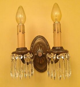 Vintage Lighting Four Antique 1920s Colonial Crystal Sconces
