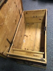Antique Scandinavian Wooden Trunk Original Wood 1824