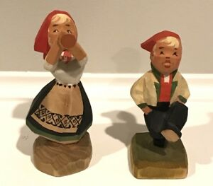 Henning Norway Hand Carve Wood Laughing Girl Musician And Boy Dancer