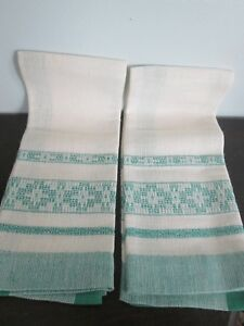 2 Vintage Off White Green Hand Woven Fingertip Guest Towels T Towels