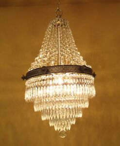 Vintage Lighting 1930s Crystal Wedding Cake Chandelier