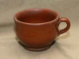 Antique Child Size Chamber Pot Redware Applied Handle Has Hairline