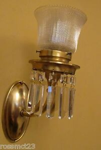 Vintage Lighting Pair 1915 Crystal Sconces Holophane Shades