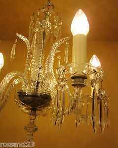 Vintage Lighting 1930s Art Deco Crystal Chandelier
