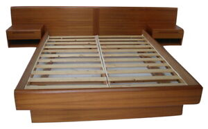 Queen Danish Modern Teak Platform Bed Attached Floating Nightstands By Jesper