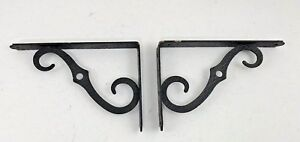 Vintage Black Hammered Wrought Iron Scroll Shelf Brackets Pair Of 2 B