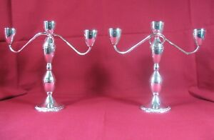 Reduced Pair Sterling Silver Weighted Candelabra 2 Arm 3 Candle Candlesticks