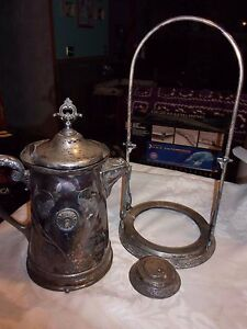 Antique Racine Silverplate Triple Plate Tilting Teapot For Parts Or Repair Lud