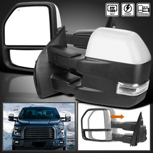 Fits 2015 2018 Ford F150 Power Heated Led Signal Chrome Tow Mirrors 8pin