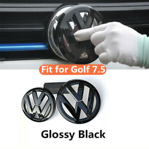 Glossy Black Front Rear Emblem Stickers Badge Fit For Vw Golf7 5 Mk7 5 Gti Tdi