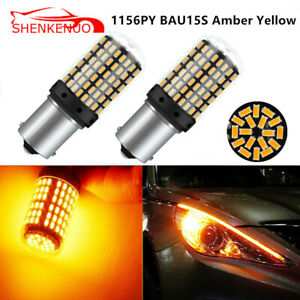 2x 1156py Bau15s 7507 Amber Yellow 3000k 114smd 3030 Turn Signal Led Bulbs 12v