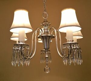 Vintage Lighting Restored 1940 Silver Crystal Chandelier