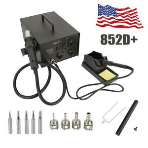 852d Rework Electric Solder Soldering Iron Station Hot Air Gun Kit 110v