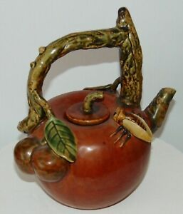 Vintage Majolica Teapot Ornate Apples Insect Japanese Chinese