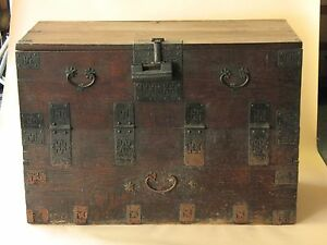 Old Natural Wood Korean Blanket Chest Trunk Side Furniture Korea Antique Rare