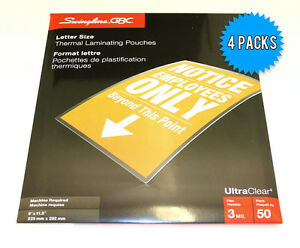 Gbc Letter Size 9 X 11 5 3mil Thick Thermal Laminating Pouches 4 X 50 Pack