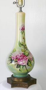 Antique Victorian Hand Painted Porcelain Floral Lamp Pink Chrysanthemums Signed