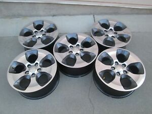 18 Jeep Wrangler Rubicon Set 5 Charcole Polished Oem Factory Wheels Rims