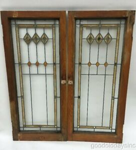 2 Of 5 Antique 1920s Chicago Bungalow Stained Leaded Glass Door Window 45 X 20