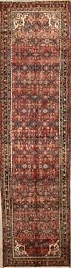 Vintage One Of A Kind Hamedan Persian Hand Knotted All Over Pink Runner Rug 4x14