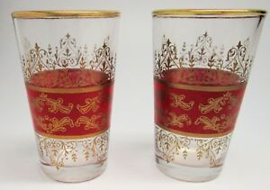 Set Of Two Pretty Red And Gold Drinking Glasses 3 1 2 Tall