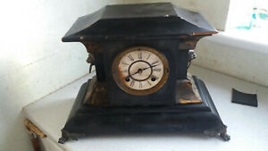 Antique American New Haven Wooden Mantel Clock Slate Effect Needs Work