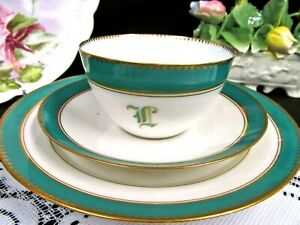 Bavaria Germany Tea Cup And Saucer Green Gold Teacup Trio With Initials 1930