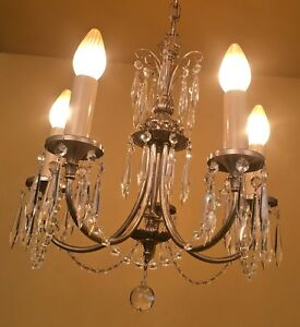 Vintage Lighting 1920s Crystal Chandelier Fully Restored