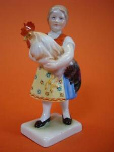 Herend Porcelain Hand Painted Girl Figurine 7 1 2 Tall