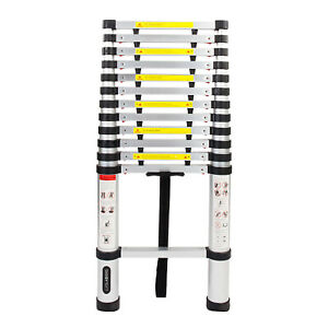 Telescoping Extension Ladder Aluminum 12 5ft Multi Purpose W Anti pinch Head