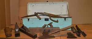 Antique Adirondack Timberframe Tools Broad Axe Froe Peavy Bark Spud Early Chest
