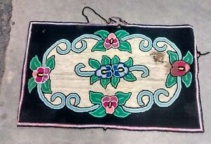 Antique Vintage Rectangular Hooked Area Rug 24 X 38 75 Floral Pansy Decorated