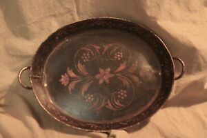 Antique Tole Toleware Hand Painted Oval Tray W Handles 10x13