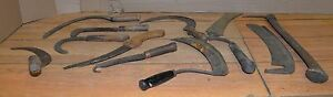 10 Antique Farm Tools Bill Hook Scythe Early Saw Collectible Scy Grass Wheat Lot