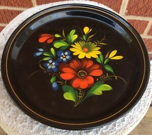 Vintage Russian Ussr Hand Painted Toleware Tin Plate 7