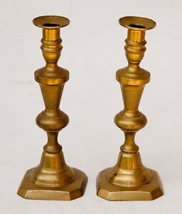 Pair Of Antique Early Brass 9 3 4 Push Up Candlesticks